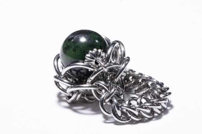 鋼藝美學CocoLin stainless chain maille:《墨玉花》戒指