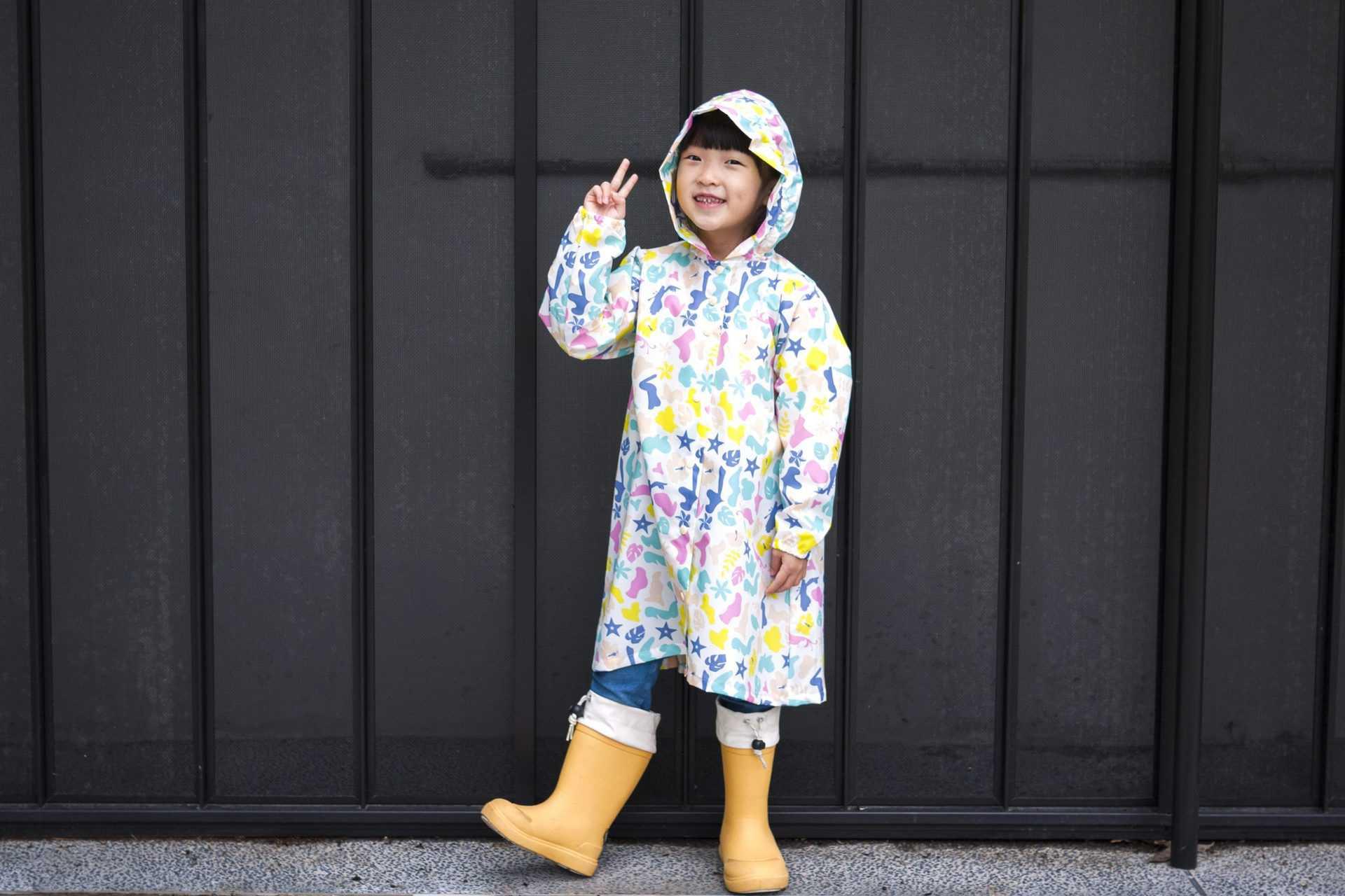 動物森林米白色兒童風雨衣-戴帽主視覺