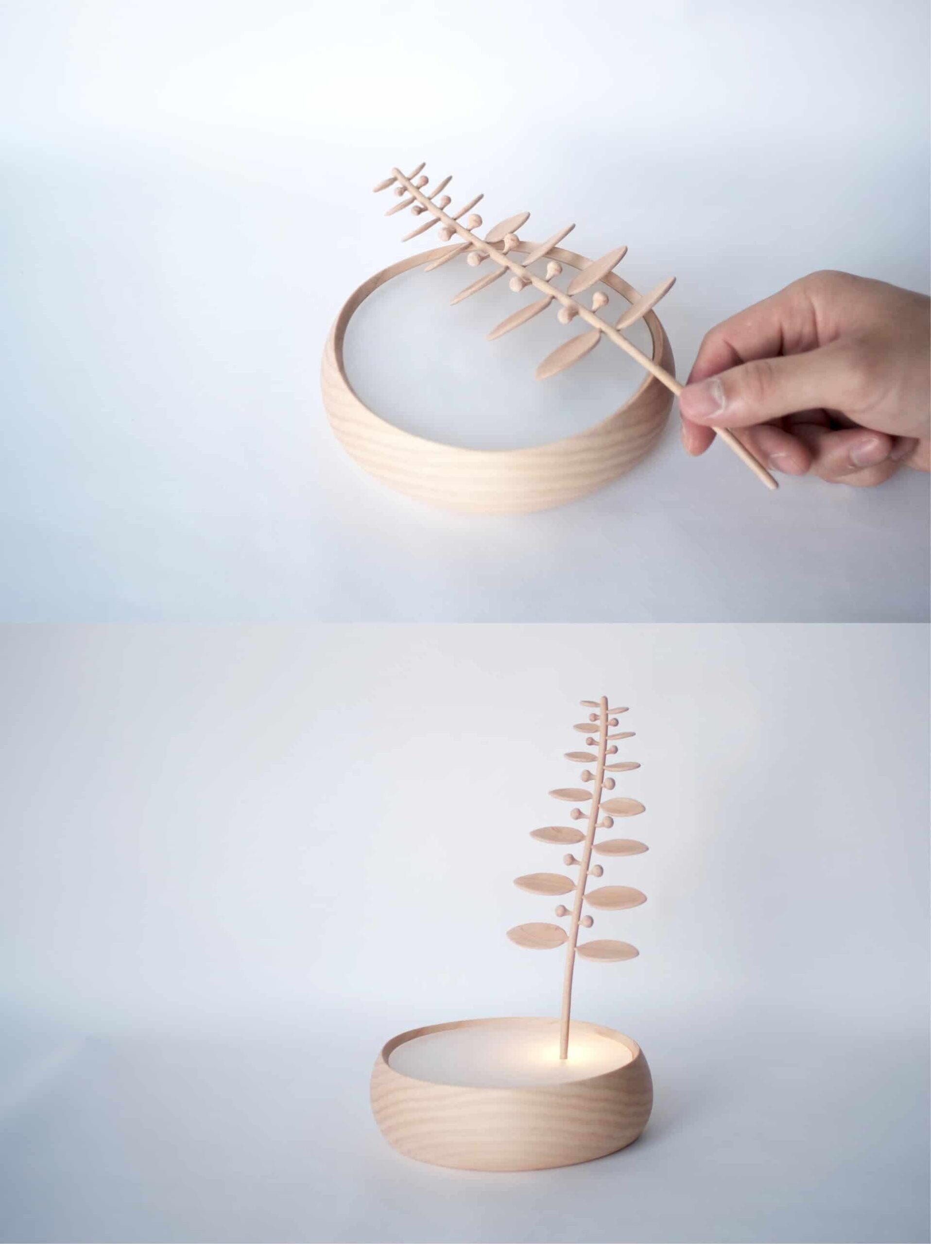 拾植_互動式木質夜燈_圖片提供/MoziDozen木子到森 木作+燈具,電燈開關和木頭的結合就像是解謎的過程