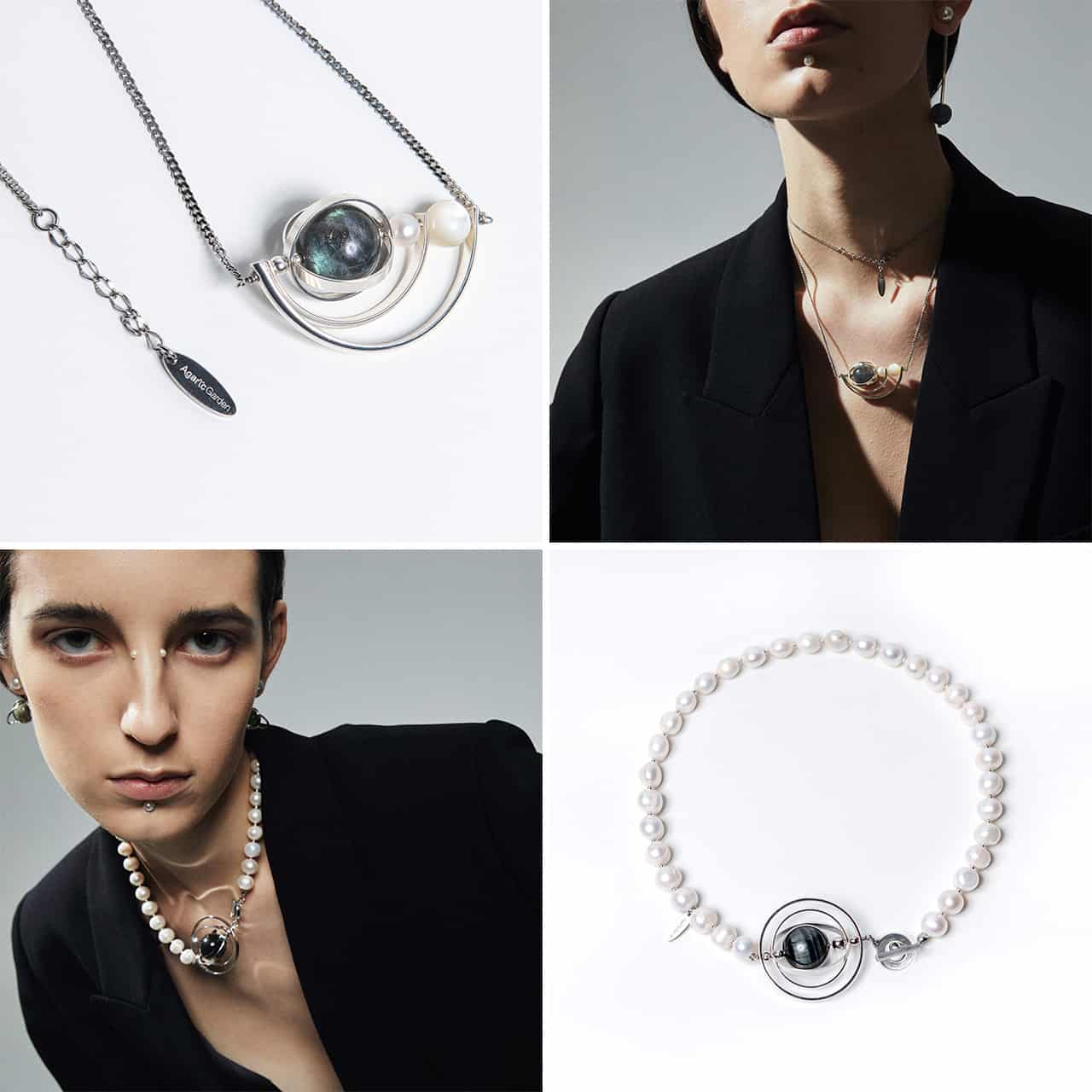 海潮拉長石珍珠項鍊、黑潮土星環珍珠項鍊_圖片提供/Agaric Garden